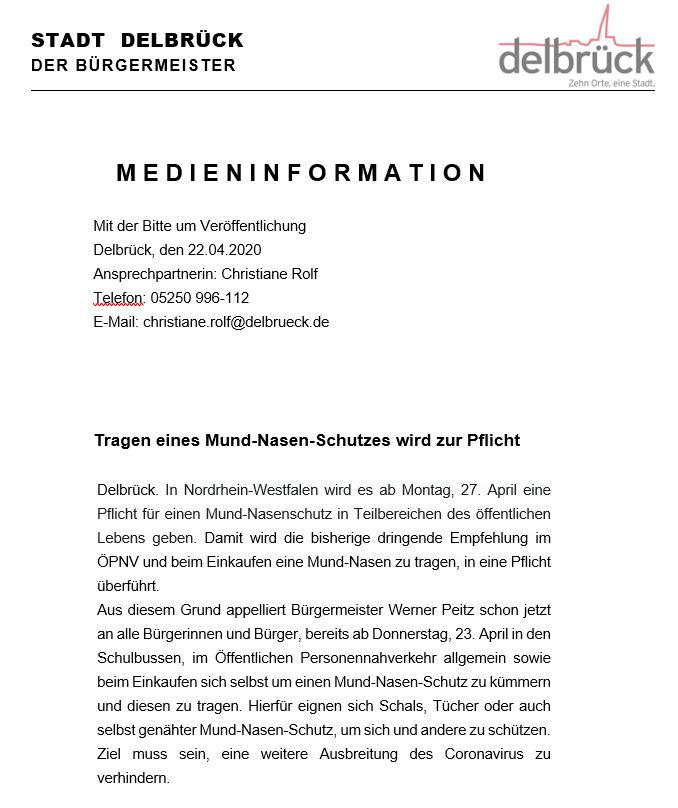 Presseinfo der Stadt Delbrück